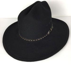 Vintage wool felt cowgirl black boho western hat